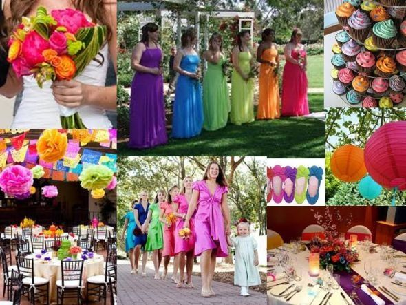 Multi color wedding theme i like this idea for decorations but bouquets bridesmaids and - Deco table multicolore ...