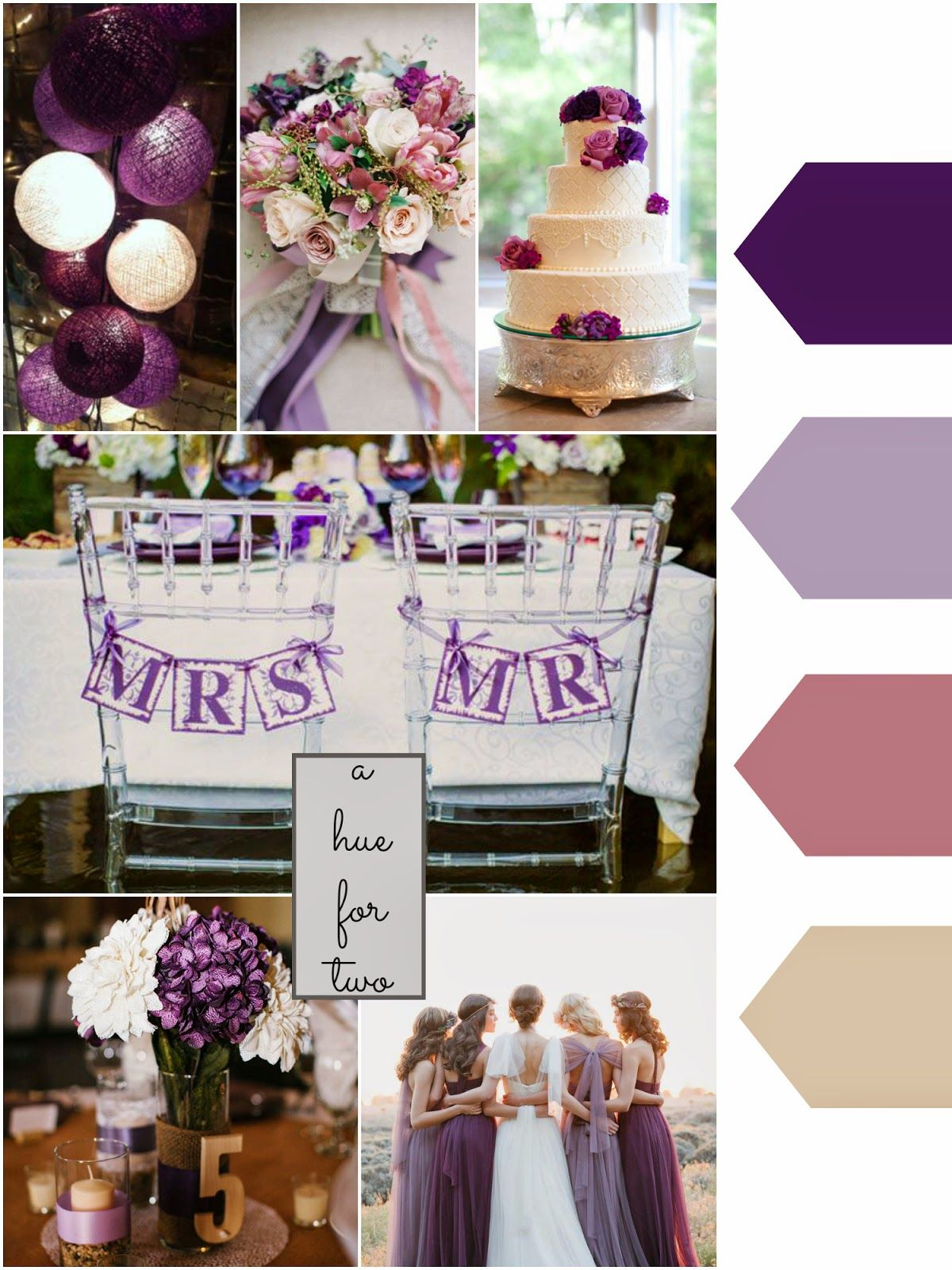 Dark Purple Lavender Dusty Rose Cream Pink Wedding Colour