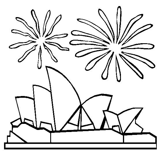 Australia Day Fireworks On Sydney Opera Coloring Pages