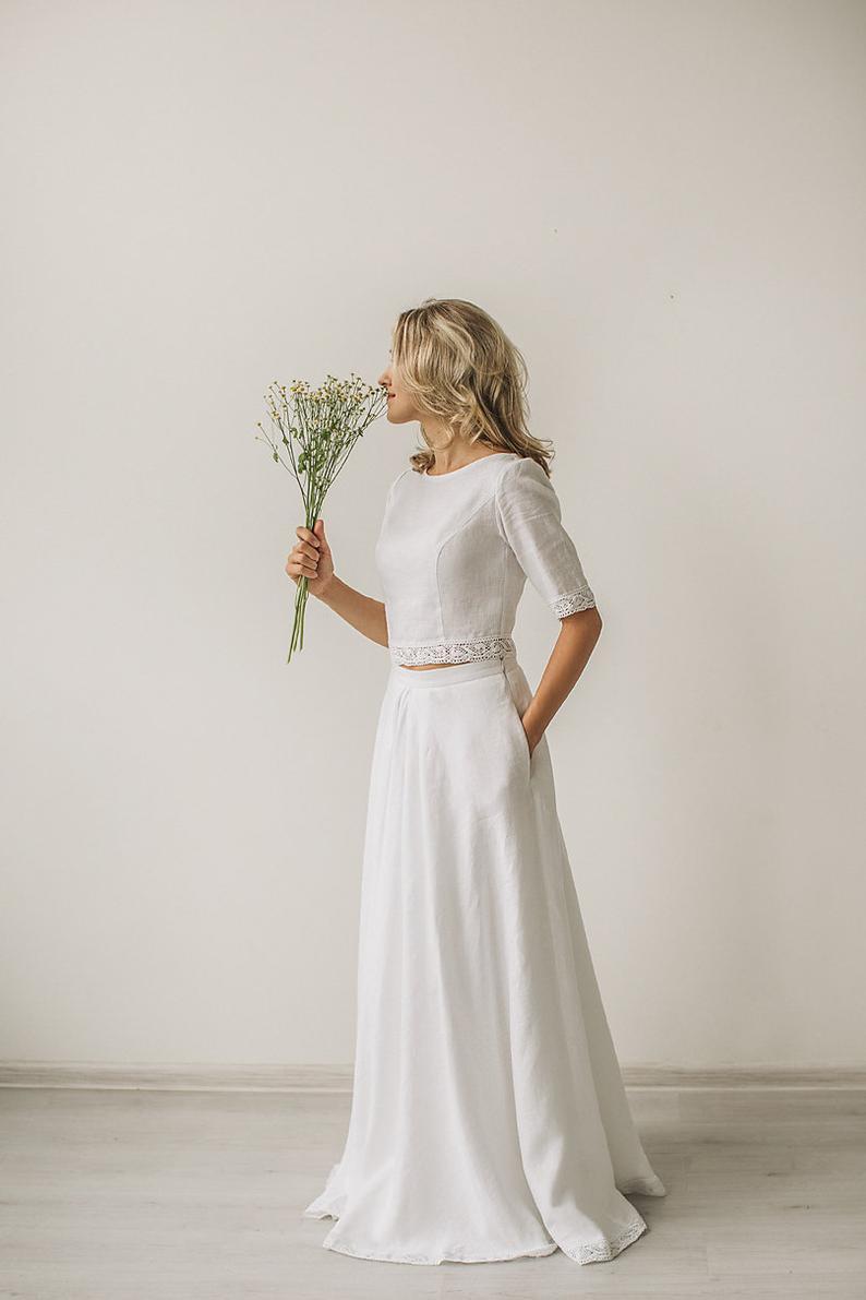 Linen Wedding Dress Modest Wedding Dress Boho Wedding Dress Linen Clothing 1930s Wedding Dress Beach Wedding Dress White Wedding Dress Crop Top Wedding Dress Linen Wedding Dress 1930s Wedding Dress [ 1191 x 794 Pixel ]
