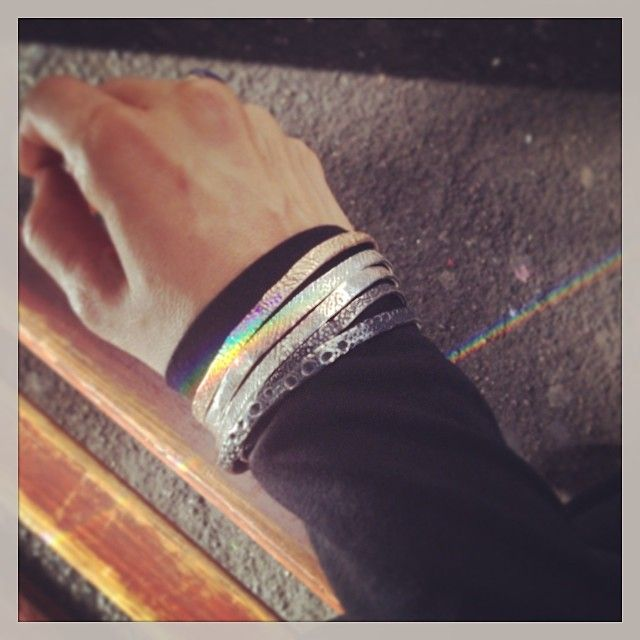 This is the #rainbow week! Cuttlefish and sea urchin textured #bangles #contemporaryjewellery #manly  (at Sydney)