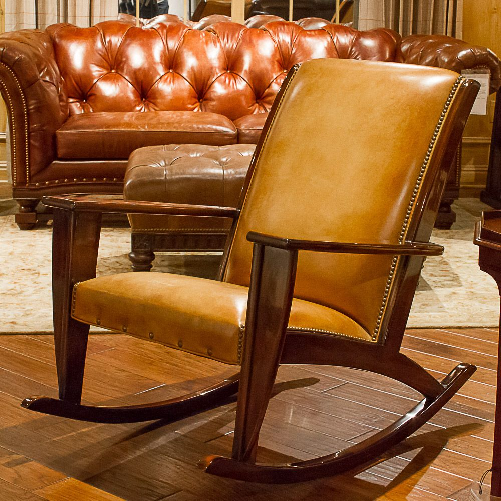 Hancock And Moore Cameo Carmel Leather Adirondack Rocker