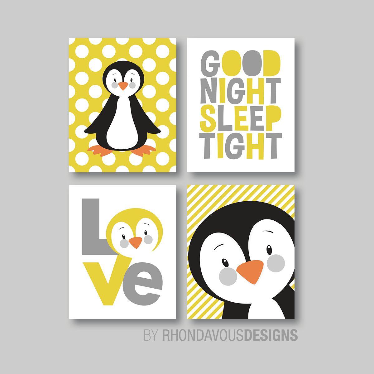 mustard yellow/gray gender neutral penguins for nursery