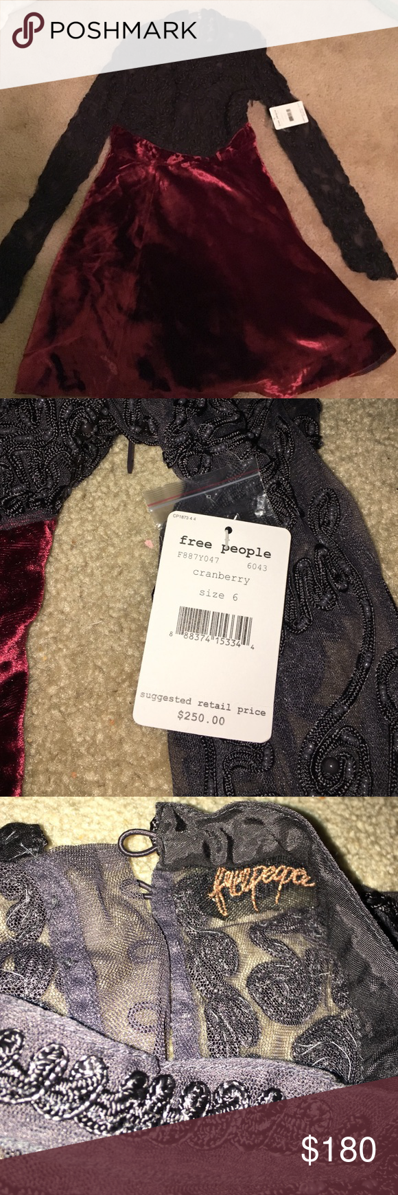 BRAND NEW LOWER PRICE - FREE PEOPLE DRESS! Brand new w tags, free people dress with velvet bottom and long sleeved laced top. Size 6- never worn!!!! Make an offer! Free People Dresses Midi