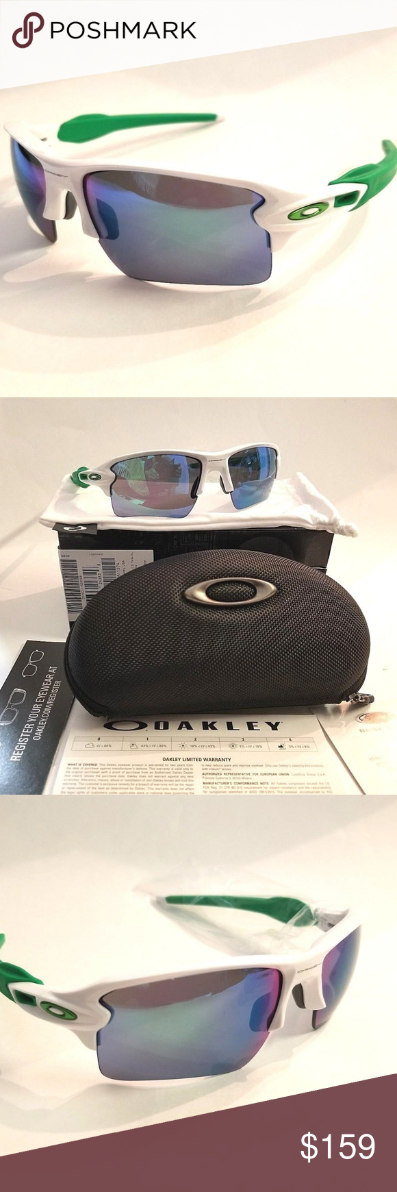 63ded076eb Oakley Flak 2.0 XL White Jade Iridium Lens The famous Jade Iridium and HDO  technology in one pair! This one has green and white polished frame Brand  new.