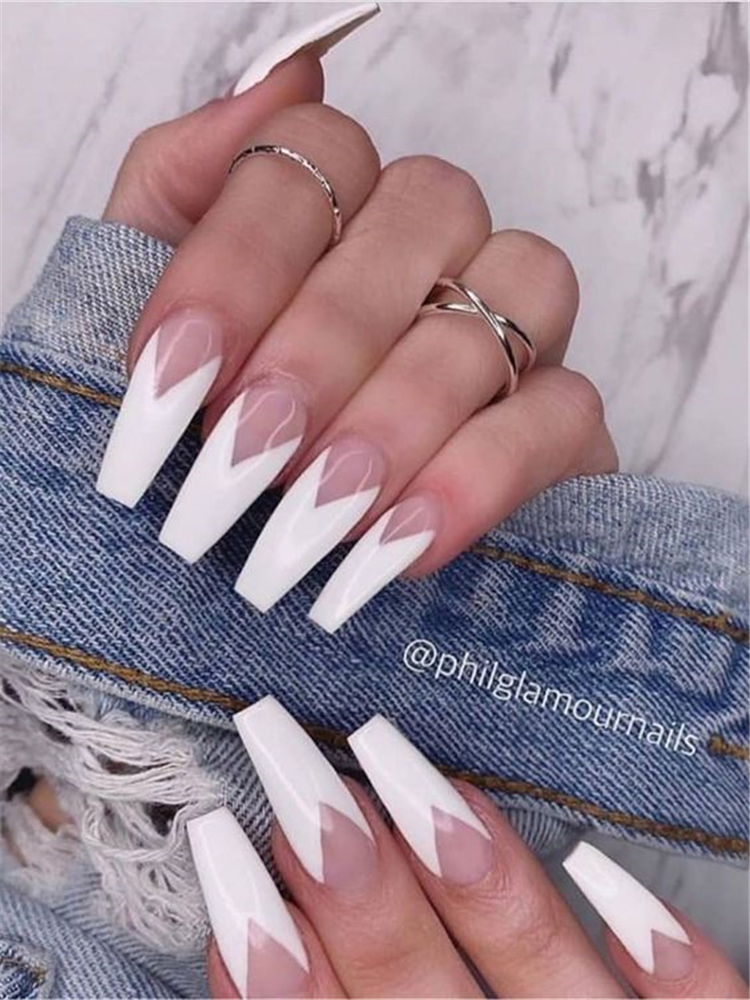 50 Beautiful But Simple Winter Acrylic Coffin Nail Designs You Need To Have For Holiday Season Women Fashion Lifestyle Blog Shinecoco Com Coffin Shape Nails White Nail Designs Coffin Nails Designs