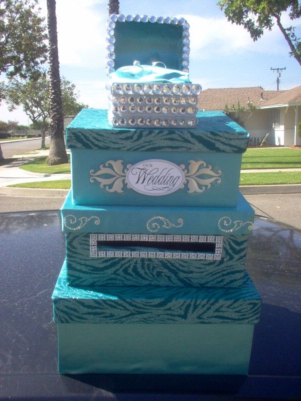 Another Card Box Ideacuz I Love Turquoise And Bling Or Pearls