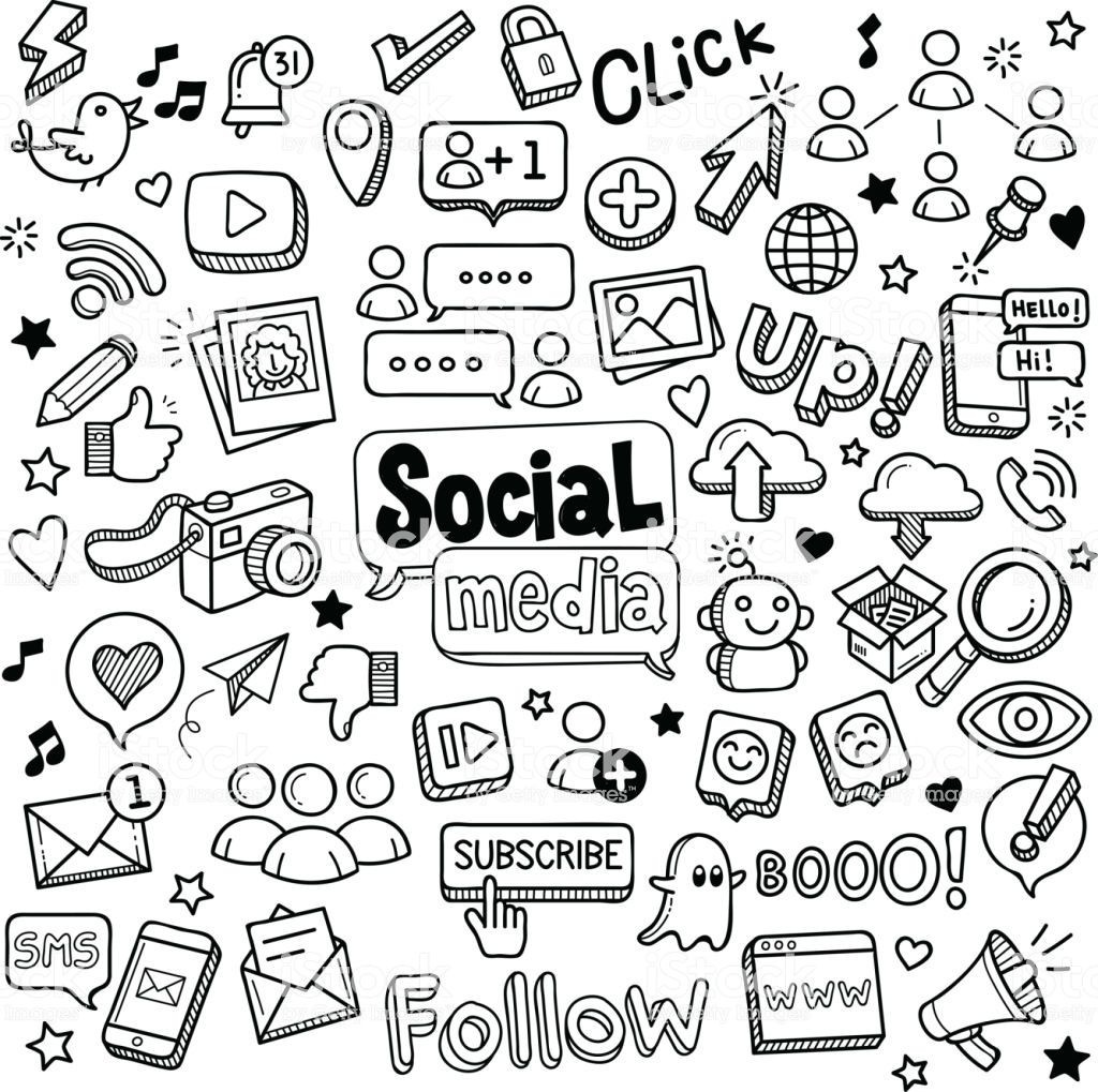 Social media vector doodles. Doodle ideeën, Illustraties