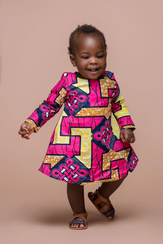 African Print Ndokoti Kid\'s Dress | Grass-fields | Kid Africa ...