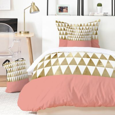 Deny Designs Georgiana Paraschiv Gold Triangles 5 Piece Duvet Cover Set Bed Bath Beyond Duvet Cover Sets Gold Bedroom Decor King Duvet Cover Sets
