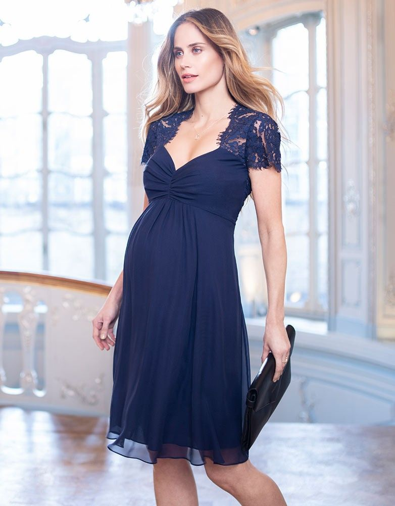 9e6ce478b4 Turn heads at your next special occasion in the Navy Blue Silk   Lace  Maternity Cocktail Dress. Maternity Style