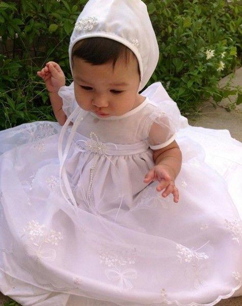 BIMARO Baby Mädchen Taufkleid Mia weiß lang Mütze Babykleid festlich ...