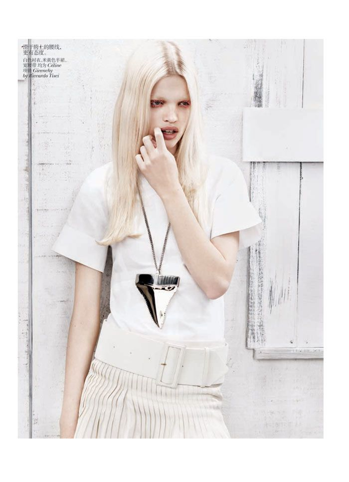 Amazing shark tooth necklace! Daphne Groeneveld by Josh Olins for Vogue China February 2012