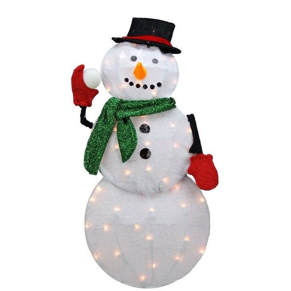 Product Works 32-Inch Pre-Lit Candy Cane Lane Snowman Christmas Yard Decoration