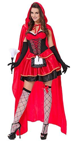 Lusiya Women\u0027s Sexy Little Red Riding Hood Fairy Tale Cos   - slutty halloween costume ideas