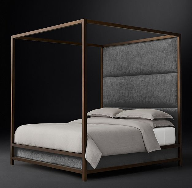 RH Modern's Montrose High Panel Four-Poster Bed:Inspired by the streamlined glamour of the late 20th century, our four-poster bed pairs a sleek, bronze-finish metal frame with a padded headboard for a clean, angular silhouette.