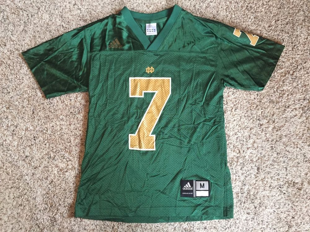 ... notre dame fighting irish 7 blue adidas college football jersey youth l  14 16 82fff7c41
