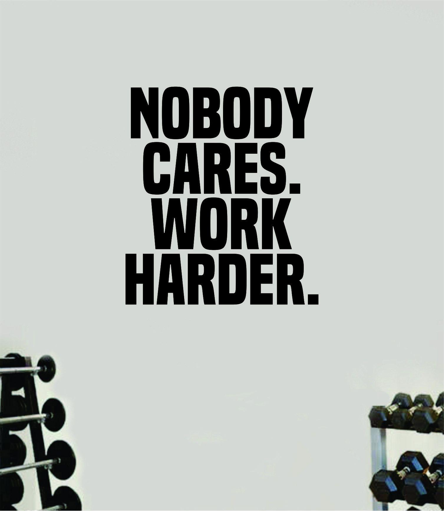 Photo of Niemand kümmert sich um die Arbeit härter V2 Gym Zitat Fitness Gesundheit Work Out Aufkleber Aufkleber Vinyl Kunst Wand Raum Dekor Teen Motivation Inspirational Girls Lift – lebendiges Blau