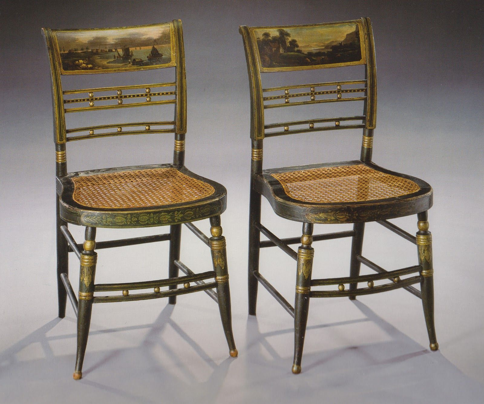 American Federal Paint Decorated Fancy Side Chairs Landscape Scenes Painted On The Backs