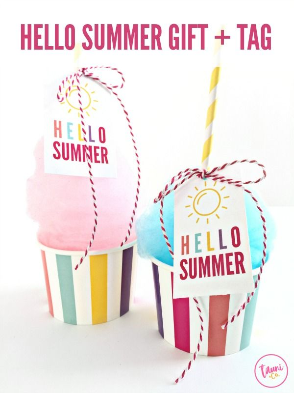 87498d7ea8e Welcome summer with this fun cotton candy treat and the FREE print + cut Hello  Summer gift tag.