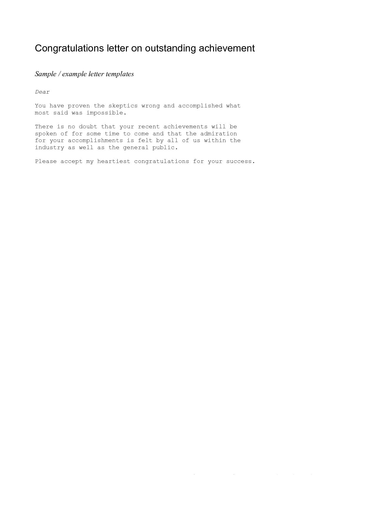 Achievement Congratulations Letter Example Of A Congratulations