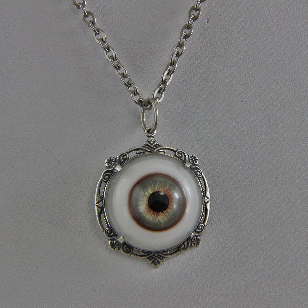 asp antique silver p eyeball evil choker necklace