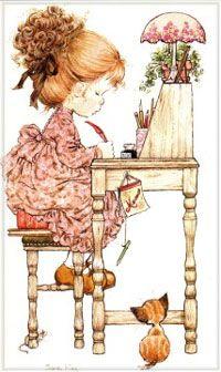Vintage greeting card. Illustrated by Sarah Kay.