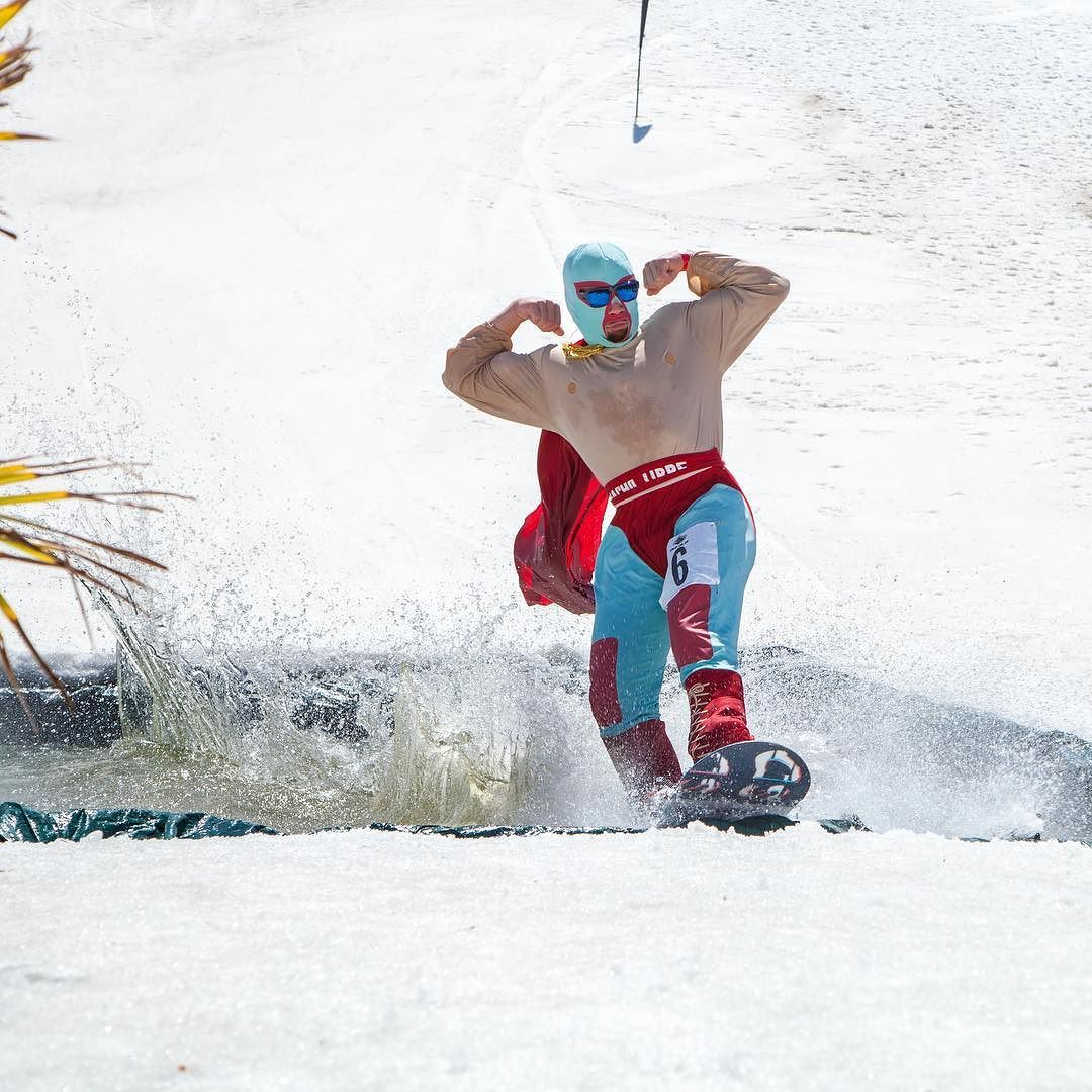 Sun  was out so the Guns  came out during the Pond Skimming event today.  Thank You @bear_mountain and #NachoLibre for making my last day at Bear Mountain an AWESOME one.  | @jared.meyer #SpringBreak #pondskimming #bearbuilt #BearMountain #BearMTN by artiecastro