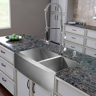Vigo 36 Inch Farmhouse Apron 60 40 Double Bowl 16 Gauge Stainless