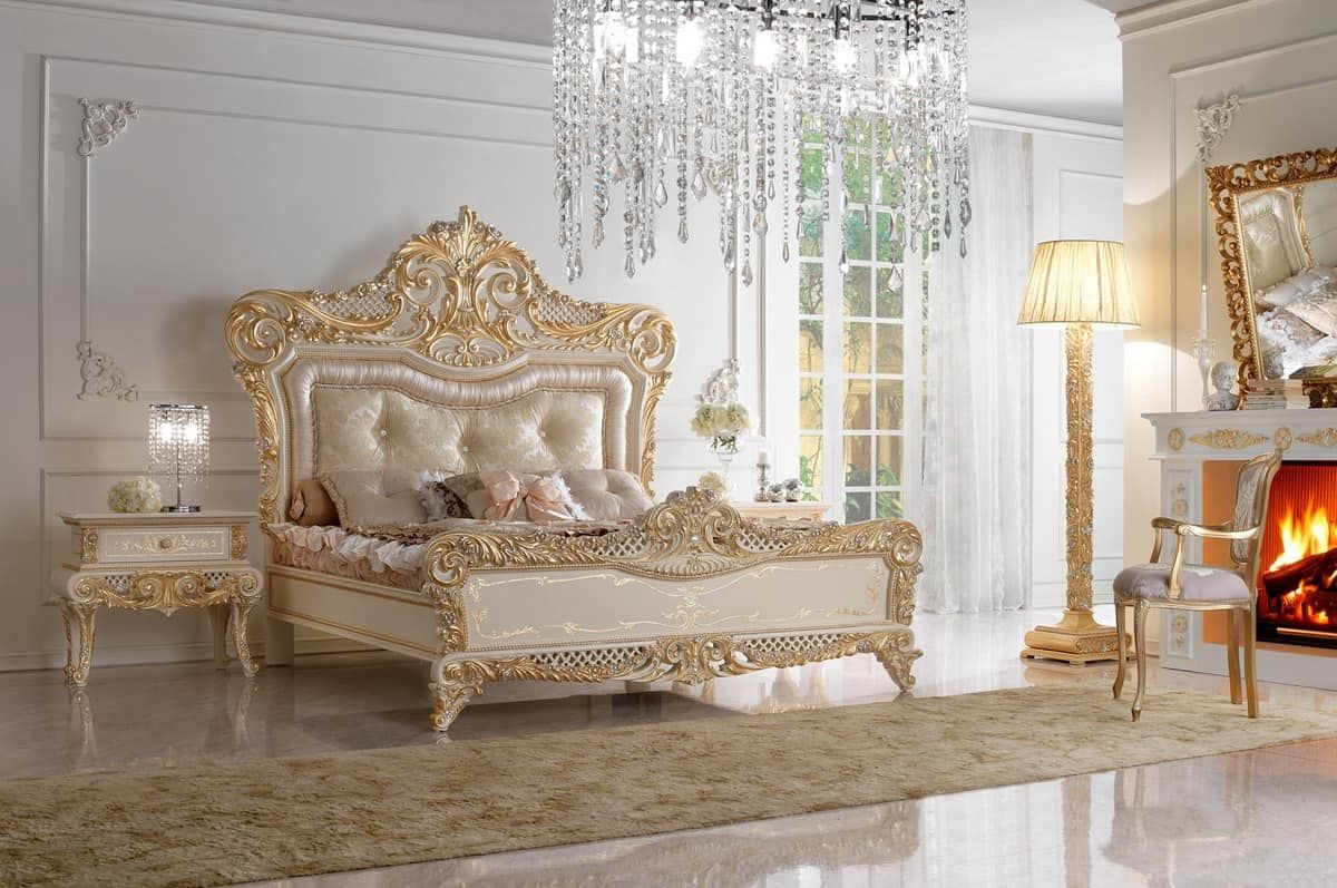 Best Royal Bed Double Bed In Carved Wood And Upholstered 640 x 480