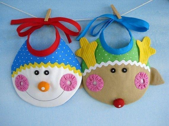 Christmas Baby Bib Sewing Pattern  Elf Snowman and Reindeer
