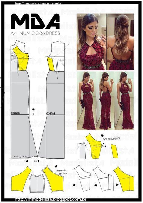 Vestido pechera | patterns | Pinterest | Patterns, Sewing patterns ...