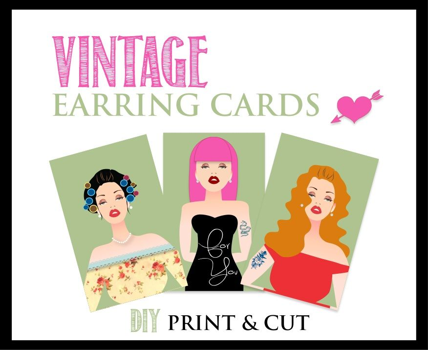 Vintage Earring Cards Template Jenny Gollan Designs Diy Display Jewellery