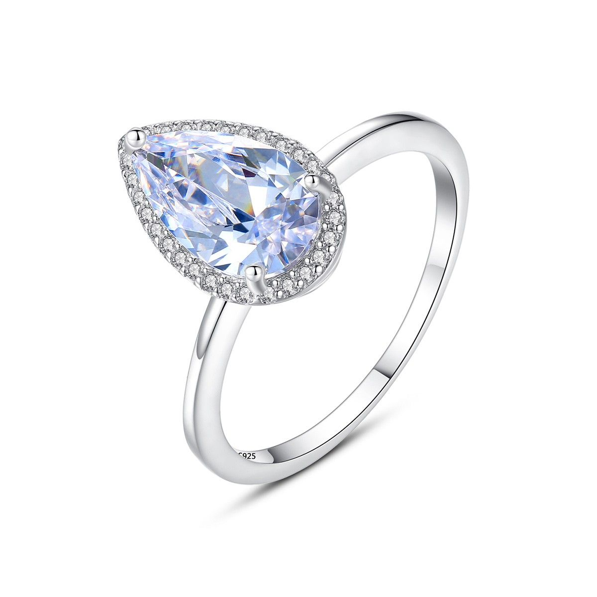 Cubic Zirconia Open End Teardrop Ring Rhodium Plated Sterling Silver