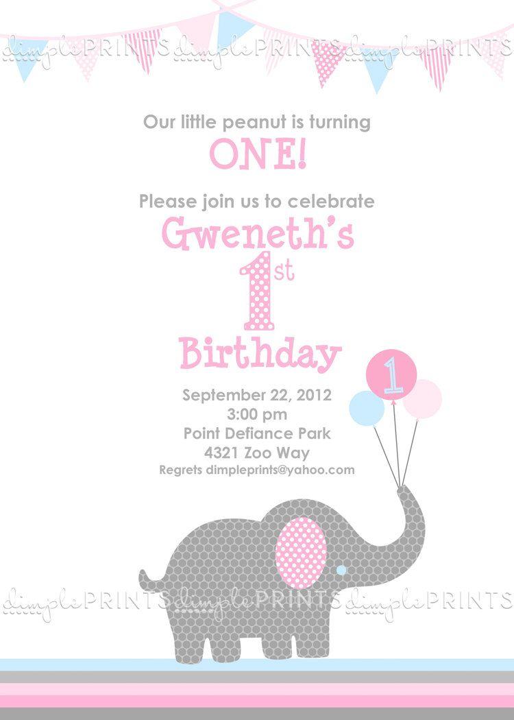 Little Elephant Printable Birthday Invitation Digital Invite 1000 Via Etsy
