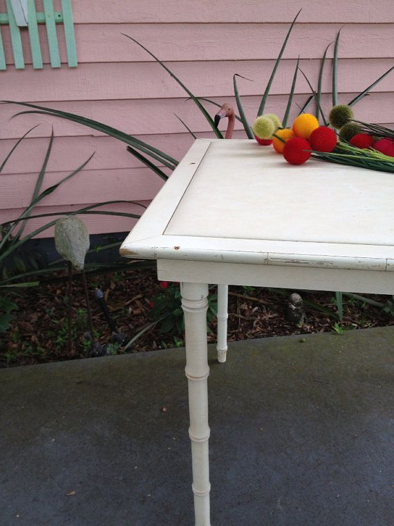 Vintage Hollywood Regency Chinoiserie Faux Bamboo White Card Table Folding  Table By Ageless Alchemy
