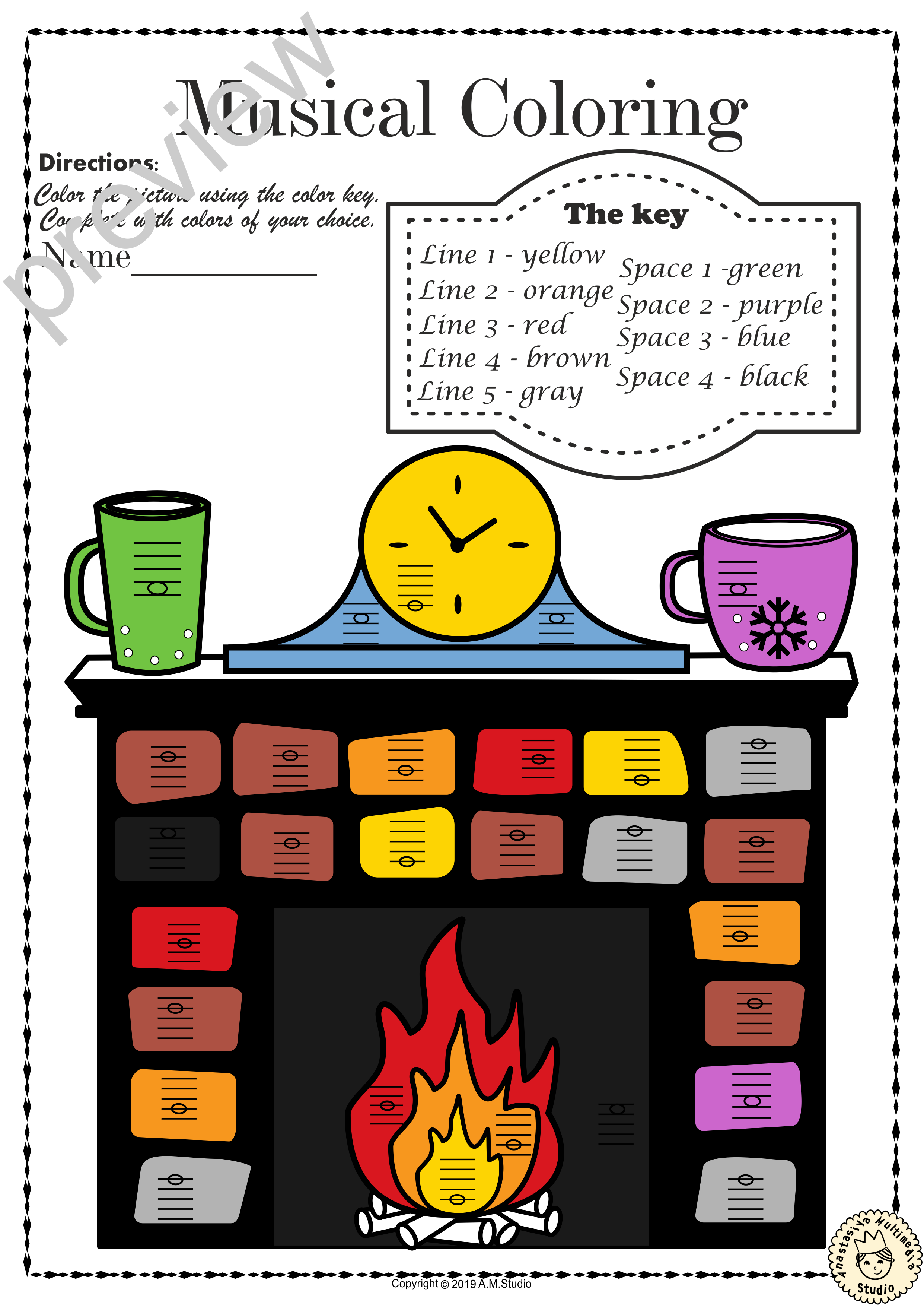 Musical Coloring Pages For Winter Lines And Spaces With
