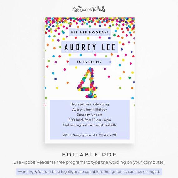 Rainbow 4th Birthday Invitation Printable Instant Download PDF Cute Confetti Invitations