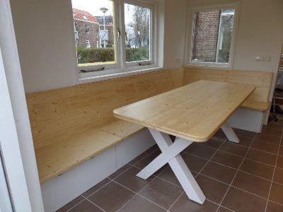 Hoekbank met bergruimte en eettafel kitchen keuken pinterest hoekbank eettafels en eettafel - Keuken met bank ...