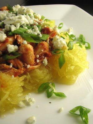 buffalo chicken spaghetti squash | two foodies & a pup