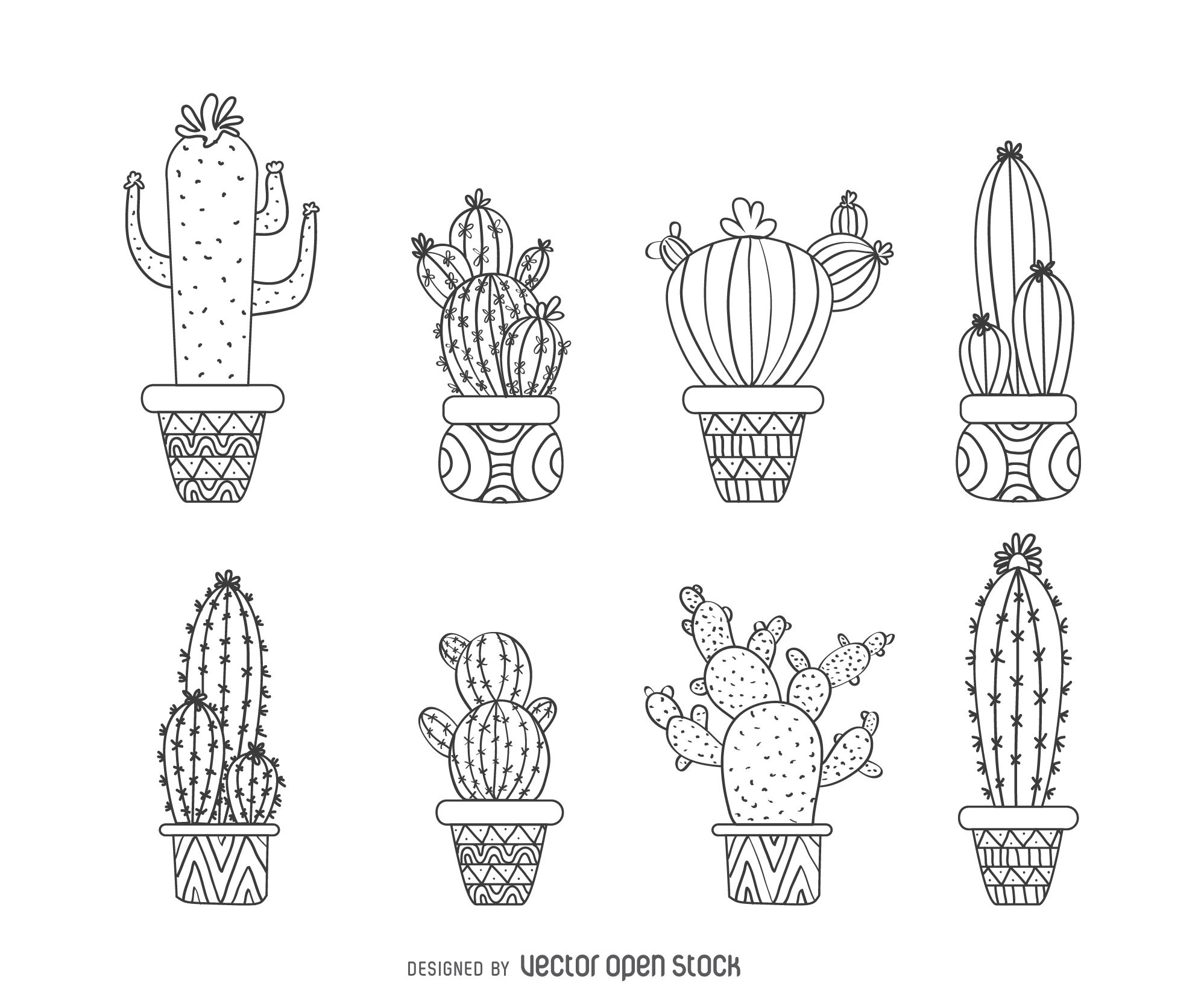 Set of illustrated cactus outlines featuring multiple ...  Cactus Flower Outline