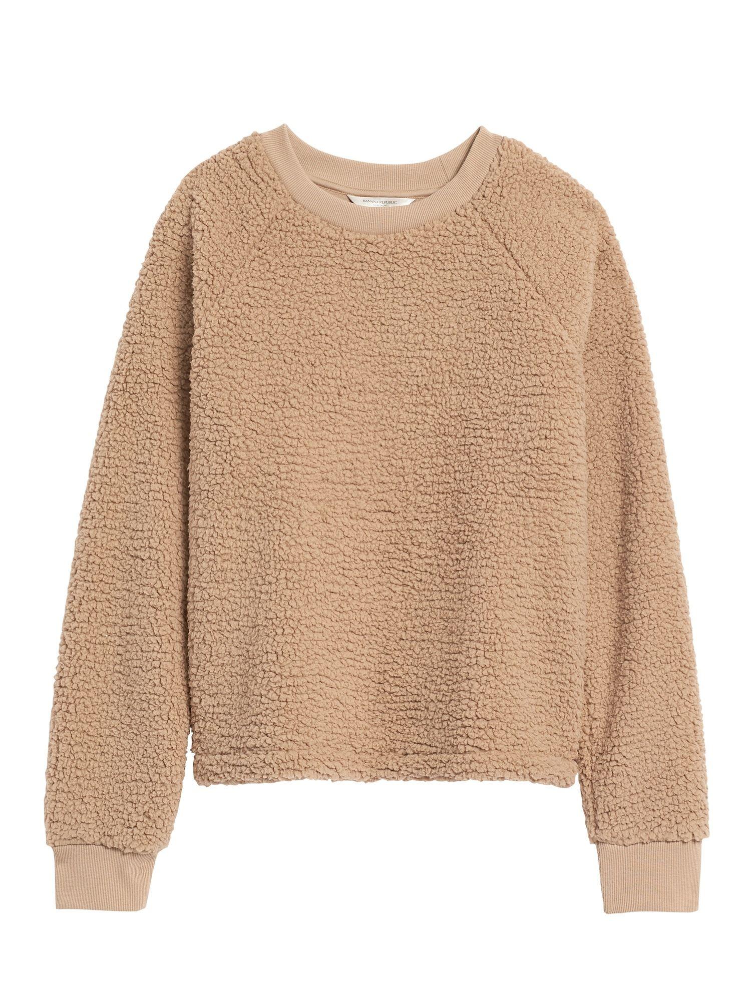 Petite Sherpa Fleece Crew Neck Sweatshirt Fleece Sweatshirt Outfit Sweaters For Women Crew Neck Sweatshirt [ 2000 x 1500 Pixel ]