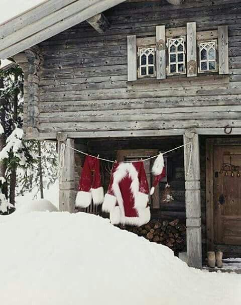 Mama Santa airing out Pap Santa's suit.