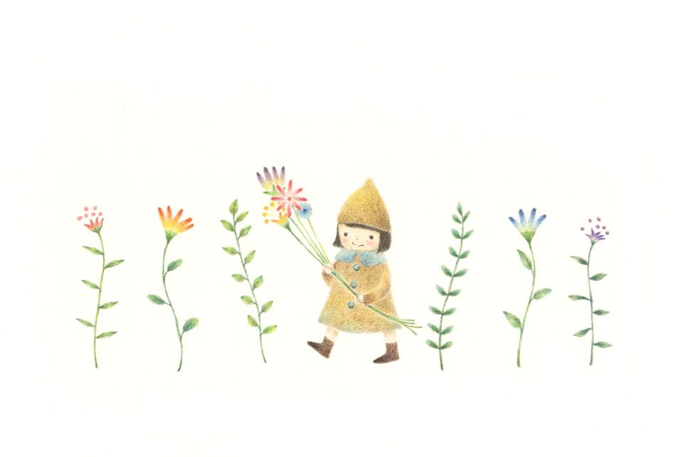 Little girl has flowers rili picture book illustration design little girl has flowers rili picture book illustration design voltagebd Image collections
