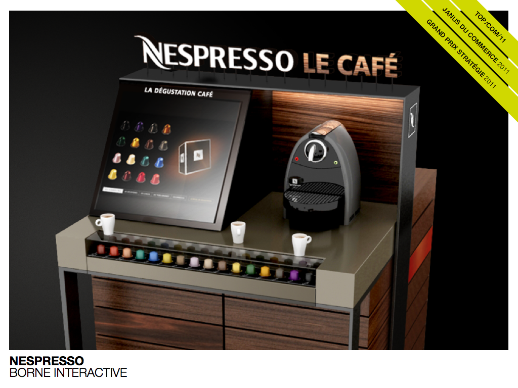 Nespresso Borne interactive touchscreen retail merce techno