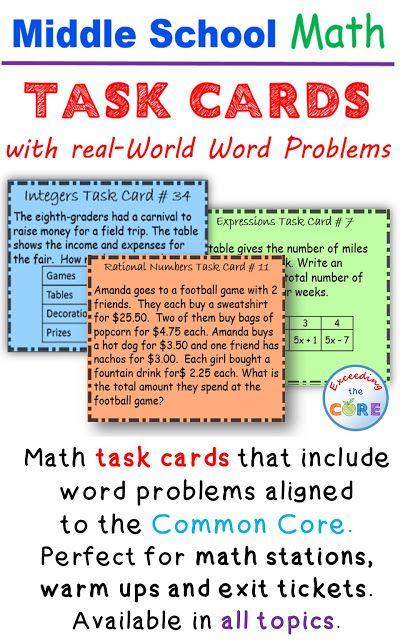 Task Cards Education Sixth Grade Math Math Lessons