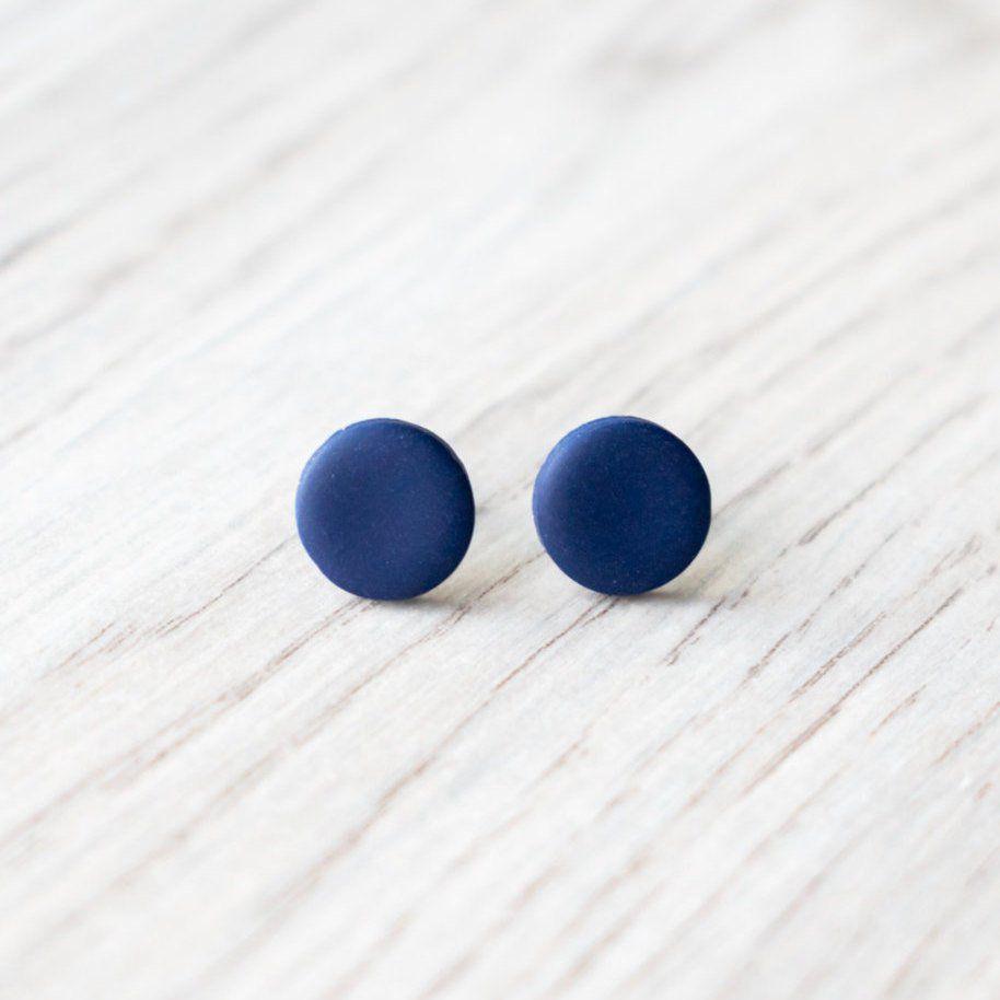 ffb795eaa Navy blue stud earrings men, everyday tiny ear studs, matte dark blue  earrings, simple navy studs, small post unisex earrings, mens jewelry