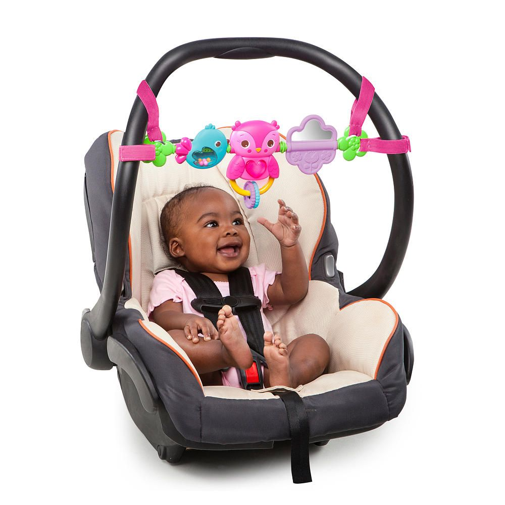 Bright Starts Pretty In Pink Busy Bir Carrier Toy Bar Attaches To Most Carriers Keep Baby Entertained On The Go