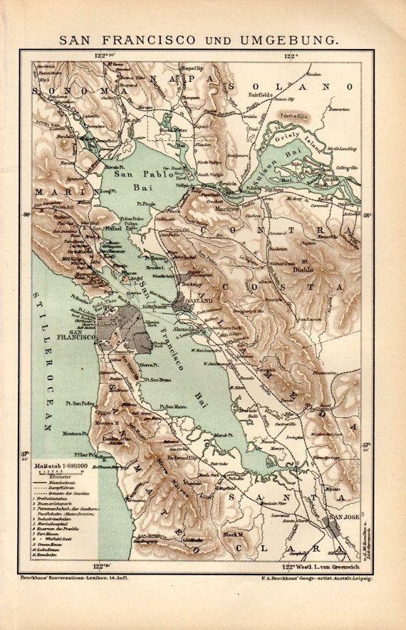 1898 San Francisco Map Antique Print Vintage Lithograph