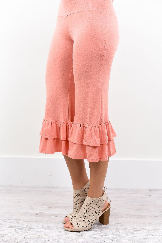 86f3e0d1e5b45 Fancy Pants Peach Double Ruffle Capri Pants - PNT102PE